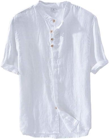 Hombre Casual Camisa, Basica Camiseta De Lino Sin Cuello Manga Corta T Shirts Tops Blanco L: Amazon.es: Ropa y accesorios