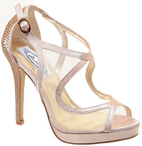 Mesh Peep Toe Stiletto Open-toe Platform Heel Pump (Heel 0.75