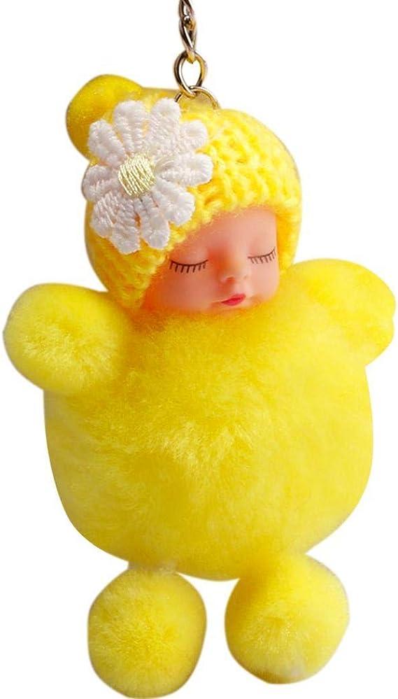 Pendente del telefono portachiavi giallo della bambola del bambino di sonno