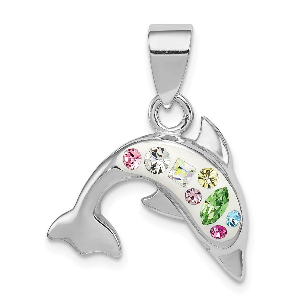19mm x 17mm Sonia Jewels Sterling Silver Stellux Crystal Dolphin Pendant