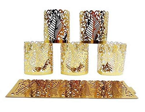 (Milky House Flameless LED Candle Shade Paper Tea Light Votive Wraps (50 Pcs, Gold) ...)