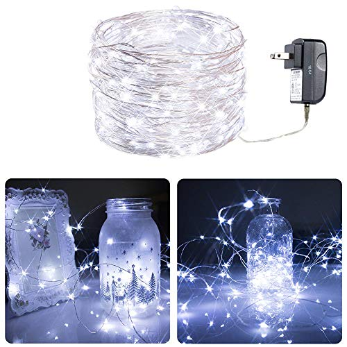 Extra Long 20foot 120led Starry String Lights Pure White on a Flexible Copper Wire, 52foot Starry Lights for Indoor, Outdoor, Decorative , Patio, Wedding, Garden, Room