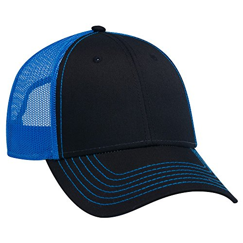 OTTO 6 Panel Low Profile Contrast Vertical Mesh Back Cap - Blk/Blk/N.Blue - Low Profile Golf Visor