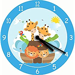 uniquepig Cute Nursery Noahs Ark Children Wall Clock Novelty Wood Wall Clocks Nonticking Nursey Living Room Wall Clock for Kids Boys Girls