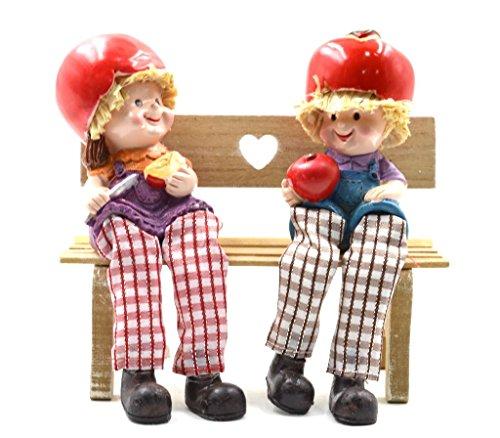 Mystica Pair of Shelf Sitter Boy & Girl Red Apple Head Dangly Legs Fruit ()