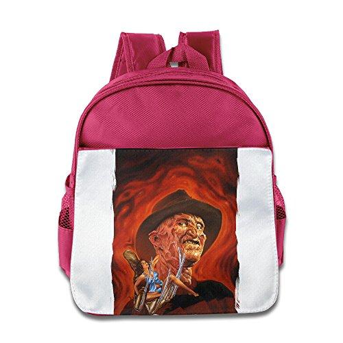 XJBD Custom Cool Nightmare On Elm Street Freddy Krueger Pizza Kids School Bagpack For 1-6 Years Old Pink