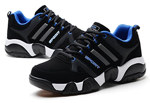 Santimon Winter Sports Shoes For Men Snow Running Shoes Athletic Cross-Trainer Trail Runners Walking Outdoor Causal Sneakers Blue BgZkiHC