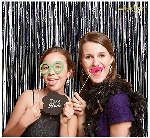 (Foil Fringe-Backdrop-6FTX8FT-Black Tinsel Metallic Fringe Curtains Shinny Party Accessory(Pack of)