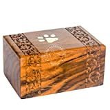 """Hind Handicrafts Brass Paw Inlaid Rosewood Pet Urn for Dogs Cats Memorial Keepsake Urns for Ashes, Photo Wooden Box Cremation Urn (Small : 6"""" x 4"""" x 3"""" - 45lbs or 20kg, Paw)"""