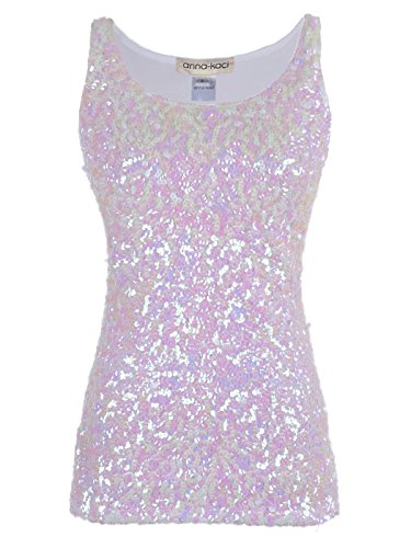 Anna-Kaci White Iridescent Sequin Sleeveless Boat Neck Tank ()