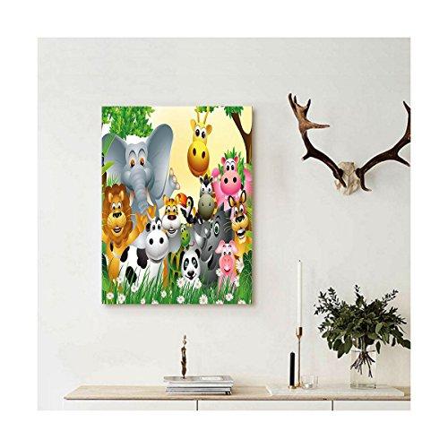 Liguo88 Custom canvas Kids Decor Cute Animals in Jungle Elephant Giraffe Panda Bear Pig Lion Hippo Rhino Cartoon Wall Hanging for Multicolor