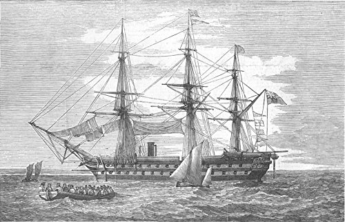 Old Antique Engraving - MILITARIA. Exmouth, 91-Flag of rear-admiral Seymour - 1855 - old antique vintage print - engraving art picture prints of Militaria Seascapes - Illustrated London News