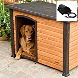 Image of Large Heated Outdoor Wood Dog House Log Cabin Doghouse Kennel
