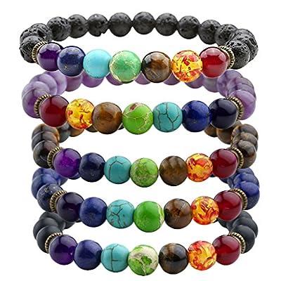 JOVIVI 7 Chakras Gemstone Bracelet Natural Stones Yoga Reiki Prayer Stone - Pack of 1-5
