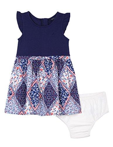 Nautica Baby Girls' Combination Dress with Woven Print Skirt, Medium Navy, 18 Months
