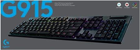 Logitech G915 LIGHTSPEED Teclado Gaming Mecánico Inalámbrico con teclas GL-Linear de bajo perfil, LIGHTSYNC RGB, Diseño ultra delgado, 30 horas de ...