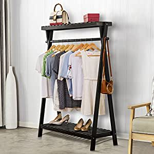 Tribesigns Wood Garment Rack, Multi-Purpose Clothes Hangers with Distinctive Design, for Bedroom or Bathroom, 2 Tier Shelves for Bags & Shoes (Black)