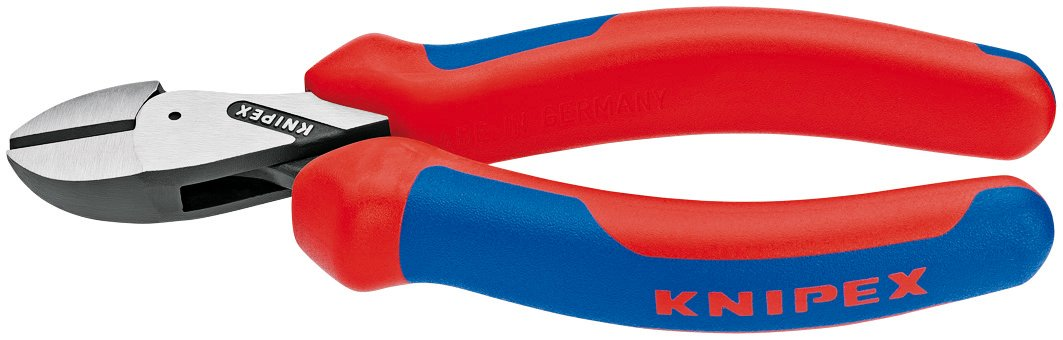 Knipex Tools  73 02 160 SB X-Cut Compact Box Joint Diagonal Cutter with Comfort Grip Handle, Red/Blue