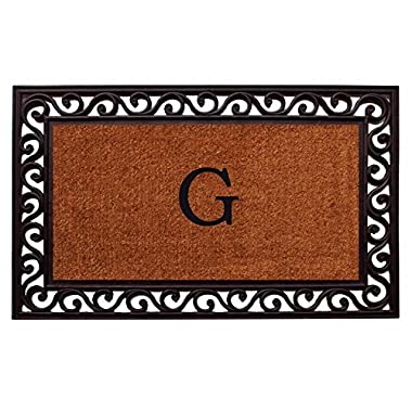 Home & More 100062236G Rembrandt Doormat, 22  x 36  x 1 , Monogrammed Letter G, Natural/Black