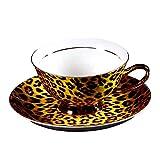 European Royal England Bone China Ceramic Tea Cup Coffee Cup,Leopard-Print,Yellow And Black