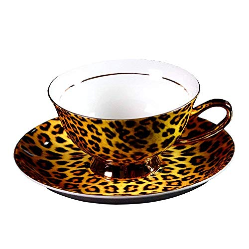 European Royal England Bone China Ceramic Tea Cup Coffee Cup,Leopard-Print,Yellow And Black (Set Dinnerware Print Leopard)