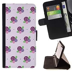 Momo Phone Case / Flip Funda de Cuero Case Cover - Fleurs rose pourpre - Samsung Galaxy J3 GSM-J300