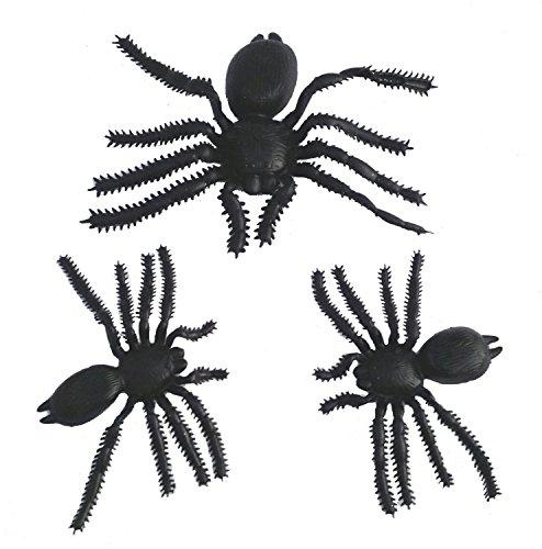 Black Halloween Spooky Spiders (Set of 3, Black) (3, 1 Large + 2 Medium) decoration