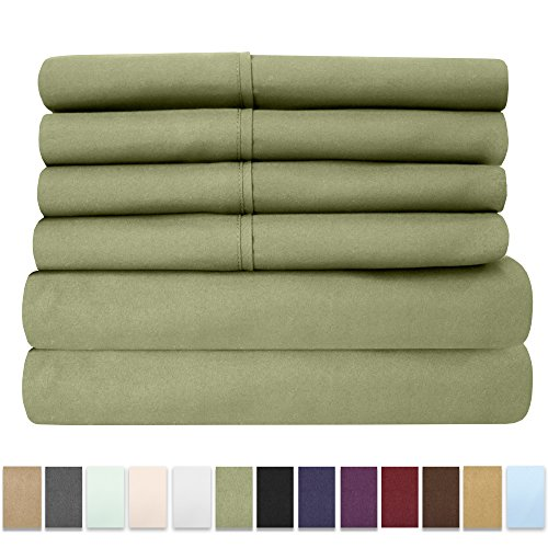 6 Piece 1500 Thread Count  Deep Pocket Bed Sheet Set - 2 EXTRA PILLOW CASES, GREAT VALUE - Full, (Pocket Sage)