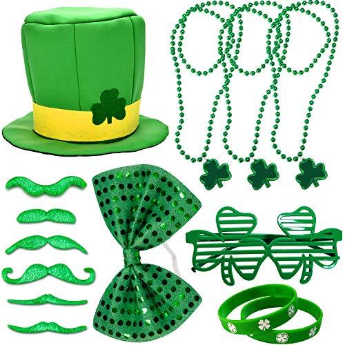 (St. Patrick's Day Accessories Set Green Shamrock Hat, Silicone Rubber Bracelets, Shamrock Beads Necklace, Shamrock Glasses, False Moustache, Bow Tie/Headband, St. Patrick's Day Parade Accessories Set)