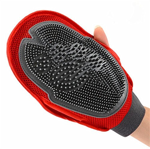 Homvare 2-in-1 Pet Glove Grooming Tool + Furniture Pet Hair Remover Mitt - For Cat & Dog - Gentle Tips - Red