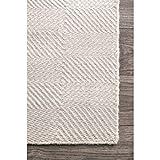 nuLOOM Hand Woven Ago Wool Area Rug, 5' x 8', Cream