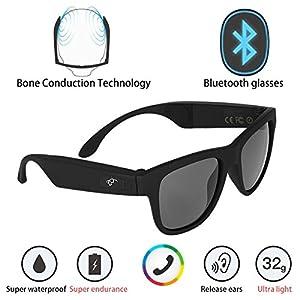G1 Bone Conduction Headphones Polarized Glasses Sunglasses kkcite CSR8635 Bluetooth 4.0 Headset SmartTouch Stereo Music Earphone Wireless Headphone with Microphone Black