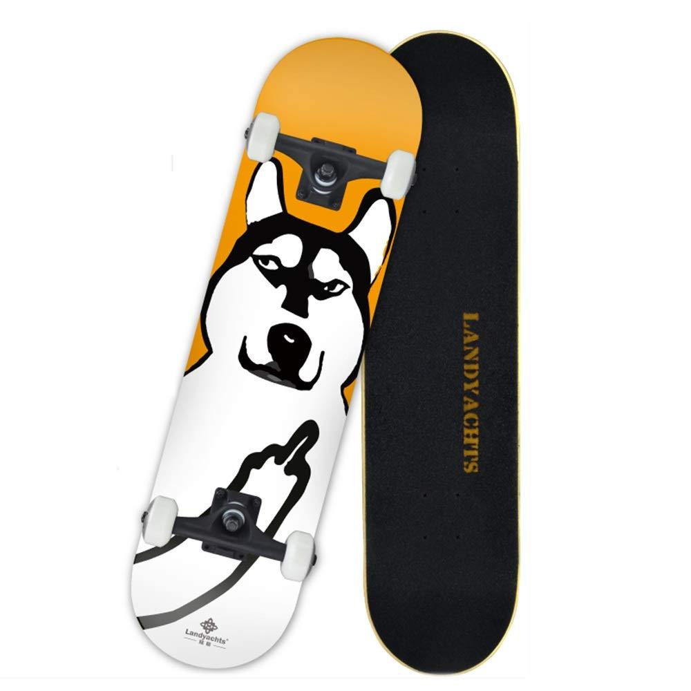 LJHBC スケートボード 大人と初心者に適しています 31インチ ダブルキック凹型スケートボード 7階建てメープルデッキ PUホイールとABEC-9 ベアリング容量330ポンド #6