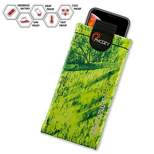 PHOOZY Realtree XP3 Thermal Phone Case - Helps Protect from Heat, Extends Battery Life, Floats in Water. for iPhone 8/X/Xs/11Pro, Galaxy S8/S9/S10 and Similar Phones [Mahi Green - Plus Size]