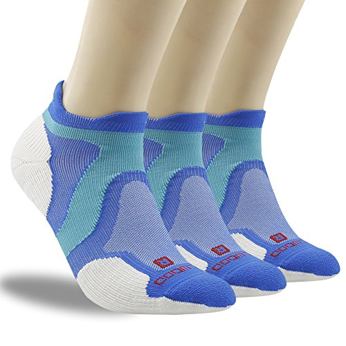 Workout Training Socks, ZEALWOOD Intensity Single Tab Socks Merino Wool Socks,Cushion Running Socks,Men and Women's Low Cut Socks,Joggers Socks Pack of 3, Wool Athletic Socks Tab-Blue/White,Small by ZEALWOOD (Image #1)