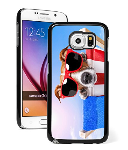 For Samsung Galaxy Note 5 Hard Back Case Cover Cute Jack Russell Terrier Sunglasses on Beach (Black)