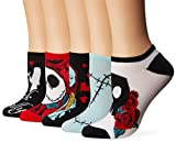 Disney Women's Nightmare Before Christmas 5 Pack No Show Socks, Black Primary, Fits Size 9-11 Fits Shoe Size 4-10.5