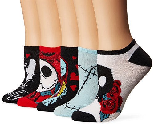 Disney Women's Nightmare Before Christmas 5 Pack No Show Socks, Black Primary, 9-11 Fits Shoe Size -