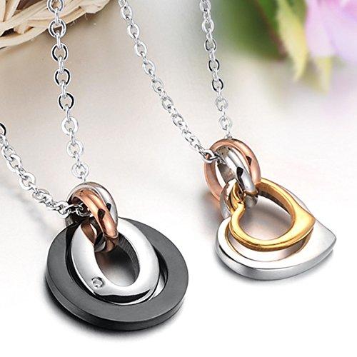 Infinite U Unique Noir et Or Deux Bagues Acier Inoxydable Pendentif Collier pour Amoureux/Couple (Avec Sac Cadeau)