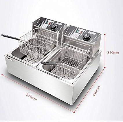 Bhavya Enterprises Stainless Steel Double Deep Fat Fryer (2x6L, 6oz, Silver)