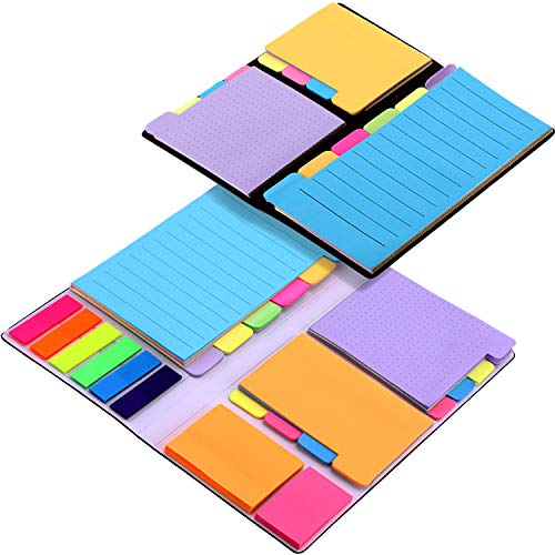 Sticky Notes Set - Gejoy 2 Pieces Colored Divider Sticky Notes Bundle Set, with 120 Ruled (4 x 6), 96 Dotted (3 x 4), 96 Blank (4 x 3), 96 Orange and Pink, 150 Index Tabs (6 Colors)