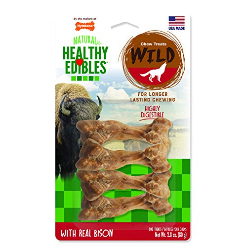 (Nylabone Healthy Edibles Wild Bison Dog Treats | All Natural Grain Free Dog Treats Made In the USA Only | Small and Large Dog Chew Treats | 4 Count)