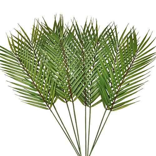 Dolicer Artificial Palm Leaves, Single Leaf Palm Fronds Faux Artificial Plant Tropical Palm Leaves Faux Monstera Leaves for Home Kitchen Party Decor (Green,Pack of 8) -