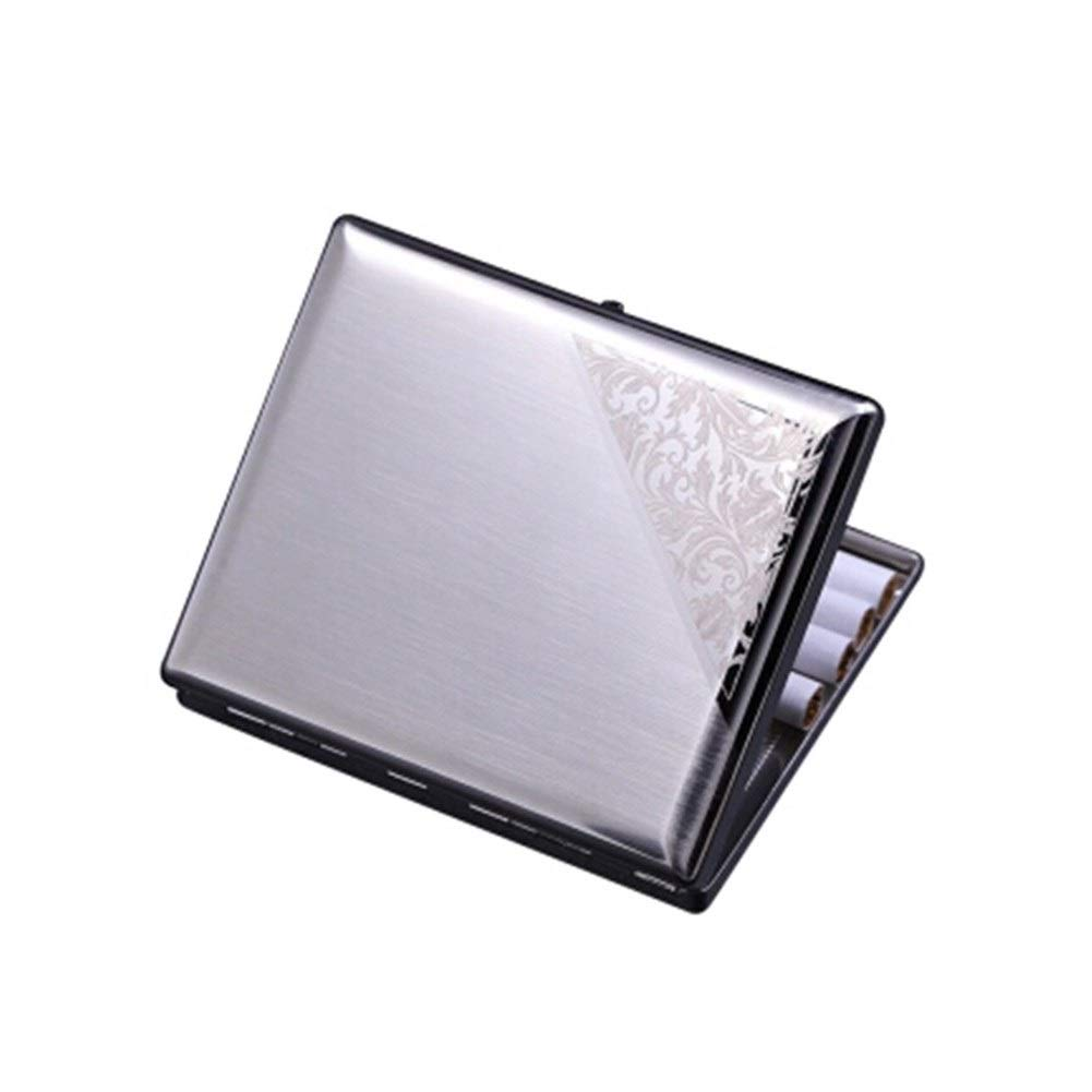 CHENTAOCS Stainless Steel Cigarette Case, Carved 16 Creative Light Men's Ultra-Thin Metal Genuine Smoking, Birthday Gift Products (Color : Silver)