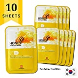 Korean Beauty Best Face Masks, Anti-Aging Collagen Boosting, Honey, Korean Skin Care Facial Sheet Masks by Leaders Labotica Skin Soft (10-pack)