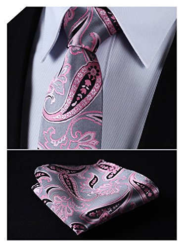 HISDERN Extra Long Floral Paisley Tie Handkerchief Men's Necktie & Pocket Square Set (Pink & (Pink Silk Neck Tie)