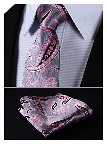 (HISDERN Extra Long Floral Paisley Tie Handkerchief Men's Necktie & Pocket Square Set (Pink & Gray))