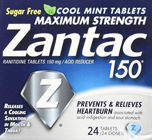 Zantac 150 Maximum Strength Tablets, Cool Mint, 24 Count Package, Helps Relieve and Prevent Heartburn Associated with Acid Indigestion or Sour Stomach, Use Before or After Meals or Before Bed at Night