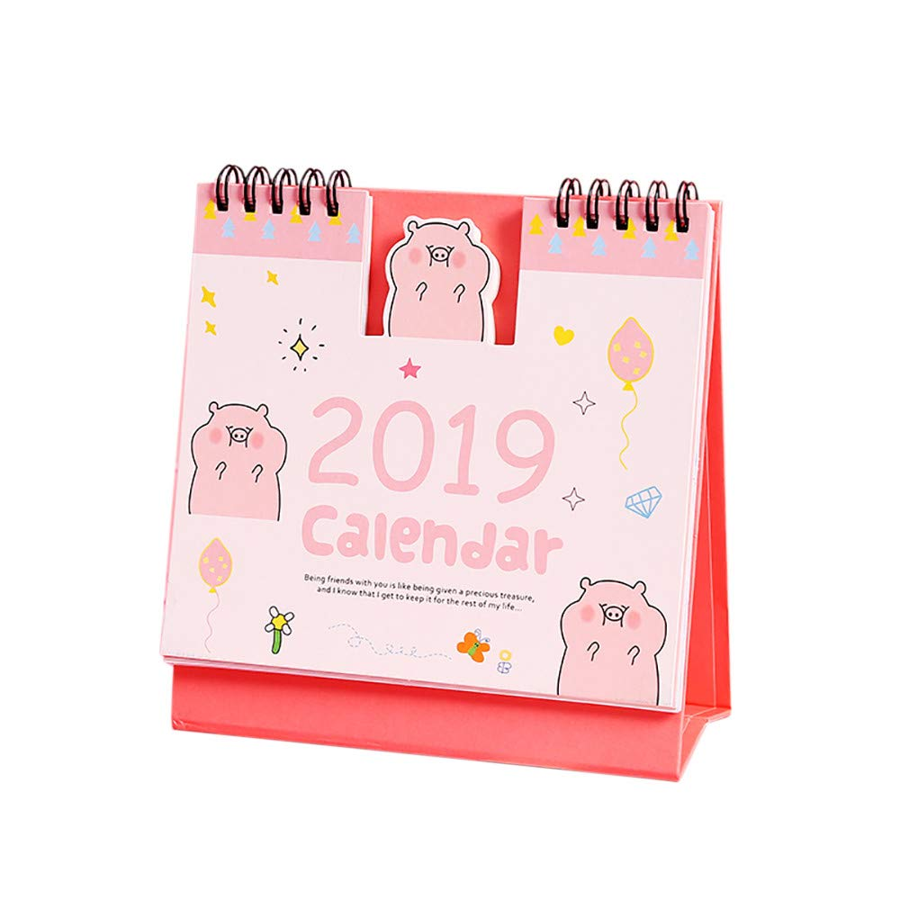 Cute Cartoon Desk Calendar 2019 Funny Pig Daily Schedule Memo Table Standing Calendar Weekly Monthly Planner to Do List Agenda Organizer for Home Office Desktop Supplies Kids Students (Pink)