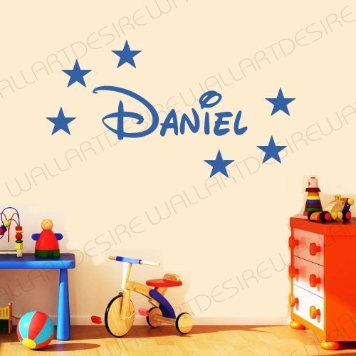 Cool Disney Names (Disney Style Personalised Name & Stars Bedroom Vinyl Wall Art Decal Sticker 14 Colours Available ***Please Message Us With Name *** (Medium Blue, 20 Cm X 60 Cm))